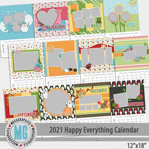 2021 12x18 Happy Everything Calendar Template Digital Art - Digital Scrapbooking Kits