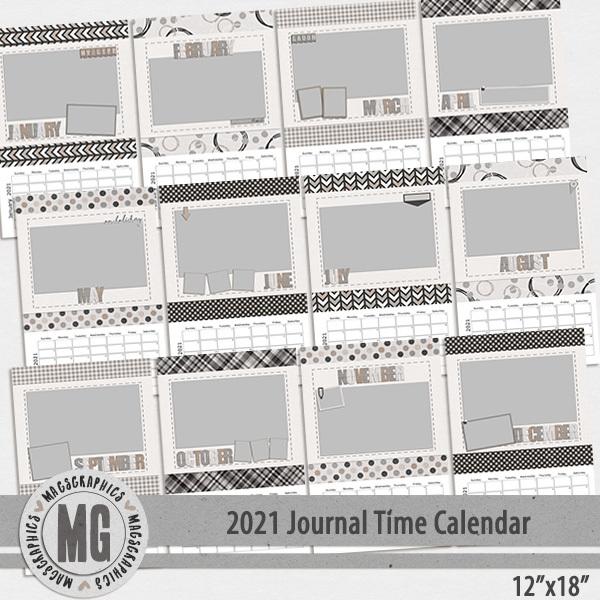 2021 12x18 Journal Time Calendar Template Digital Art - Digital Scrapbooking Kits