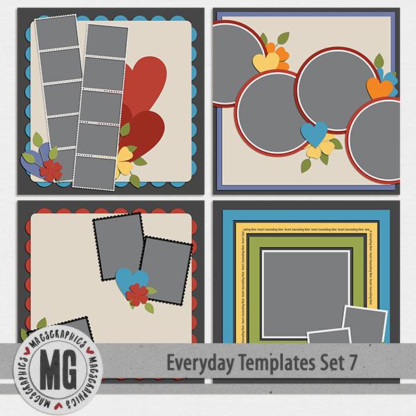 Everyday Templates Set 7 Digital Art - Digital Scrapbooking Kits