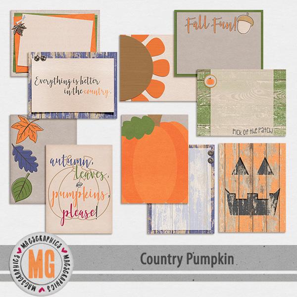 Country Pumpkin Journal Cards Digital Art - Digital Scrapbooking Kits