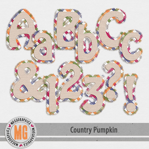 Country Pumpkin Alpha Digital Art - Digital Scrapbooking Kits