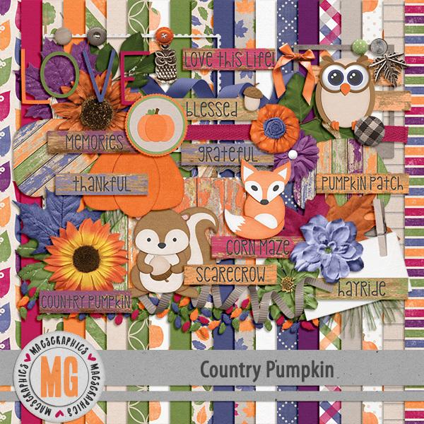 Country Pumpkin Kit Digital Art - Digital Scrapbooking Kits