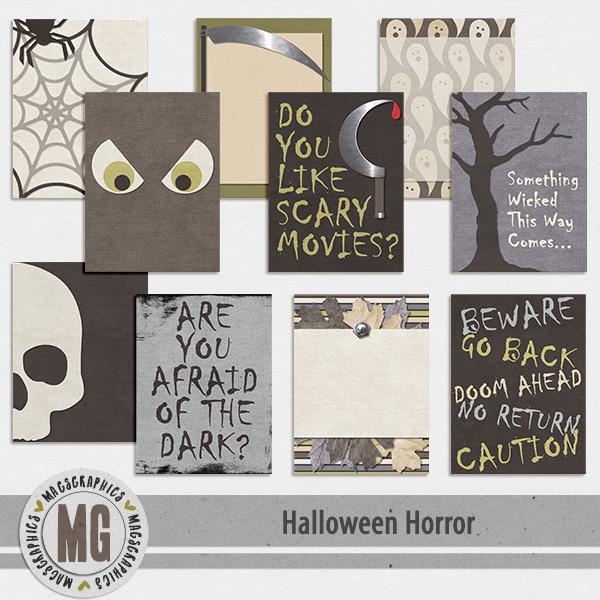 Halloween Horror Journal Cards Digital Art - Digital Scrapbooking Kits