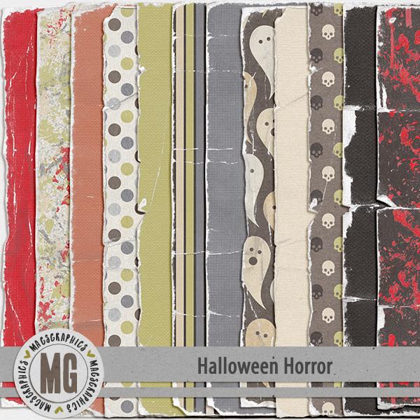 Halloween Horror Worn Papers Digital Art - Digital Scrapbooking Kits