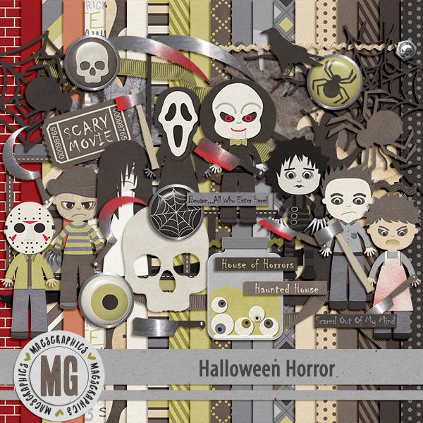 Halloween Horror 1 Digital Art - Digital Scrapbooking Kits