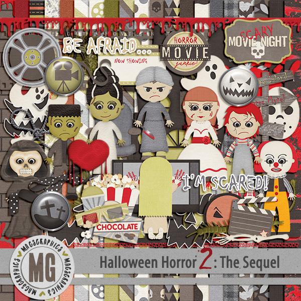 Halloween Horror 2 Digital Art - Digital Scrapbooking Kits