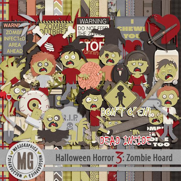 Halloween Horror 3 Digital Art - Digital Scrapbooking Kits