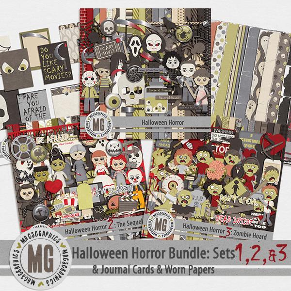 Halloween Horror 1-2-3 Bundle Digital Art - Digital Scrapbooking Kits
