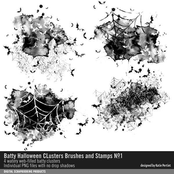 Batty Halloween Clusters Brushes and Stamps 01 Digital Art - Digital Scrapbooking Kits