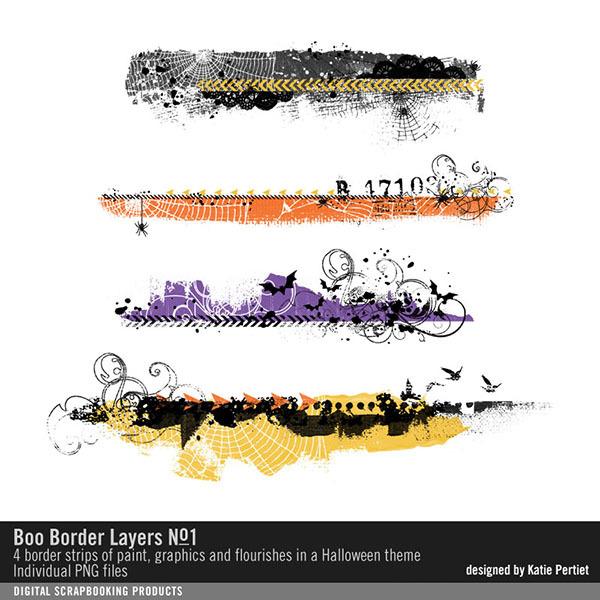 Boo Border Layers 01 Digital Art - Digital Scrapbooking Kits