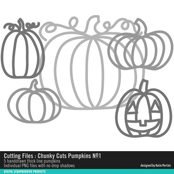 Chunky Cuts Pumpkins 01 Digital Art - Digital Scrapbooking Kits