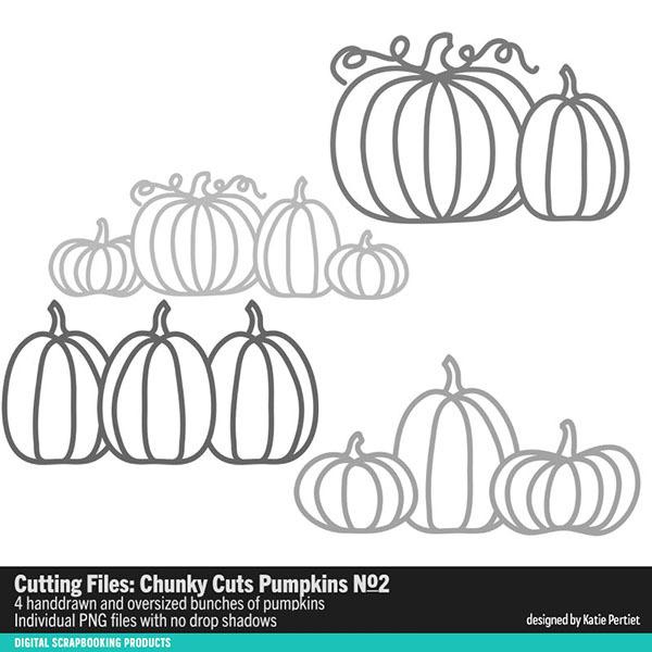 Chunky Cuts Pumpkins 02 Digital Art - Digital Scrapbooking Kits