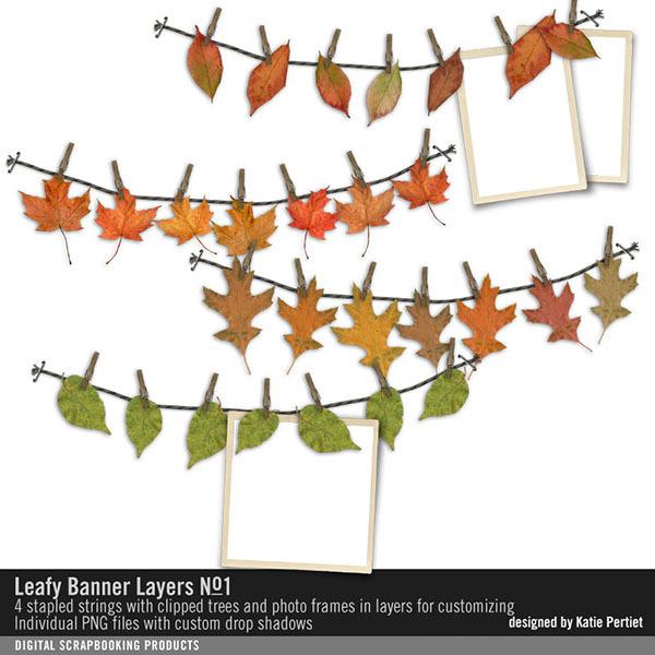 Leafy Banner Layers 01 Digital Art - Digital Scrapbooking Kits