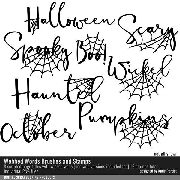 Webbed Words Brushes and Stamps Digital Art - Digital Scrapbooking Kits