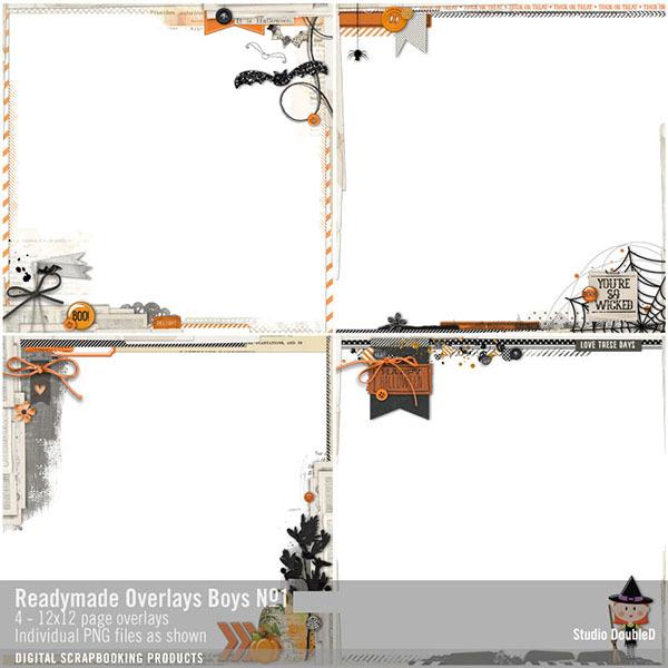 Readymade Overlays Halloween 01 Digital Art - Digital Scrapbooking Kits