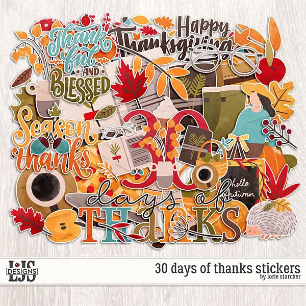 30 Days Of Thanks Stickers Digital Art - Digital Scrapbooking Kits