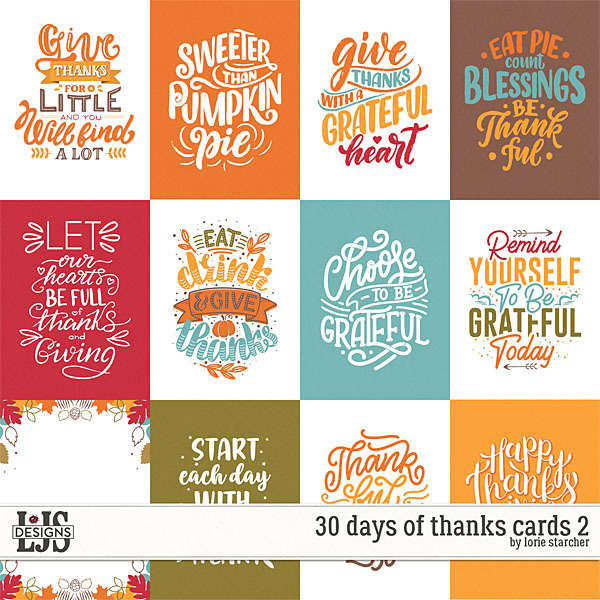 30 Days of Thanks Cards 2 Digital Art - Digital Scrapbooking Kits