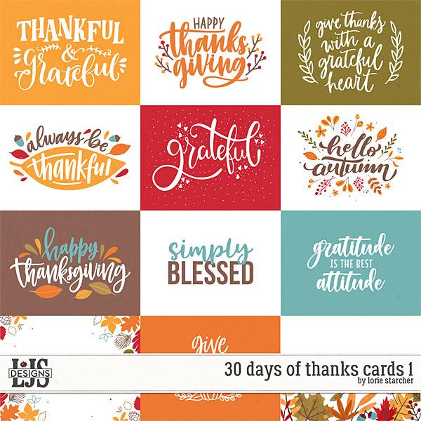 30 Days Of Thanks Cards 1 Digital Art - Digital Scrapbooking Kits