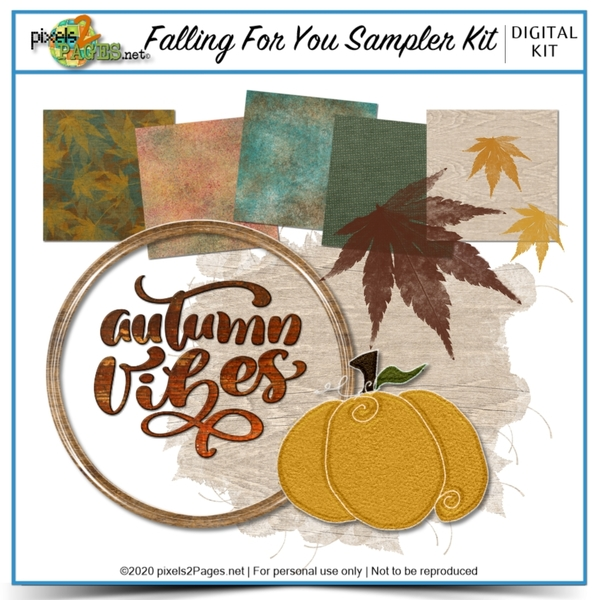 Falling For You Sampler Kit Digital Art - Digital Scrapbooking Kits