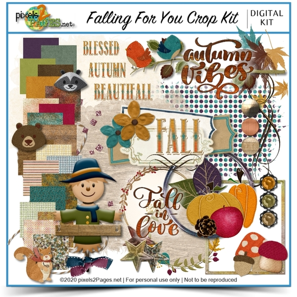 Falling For You Crop Kit Digital Art - Digital Scrapbooking Kits