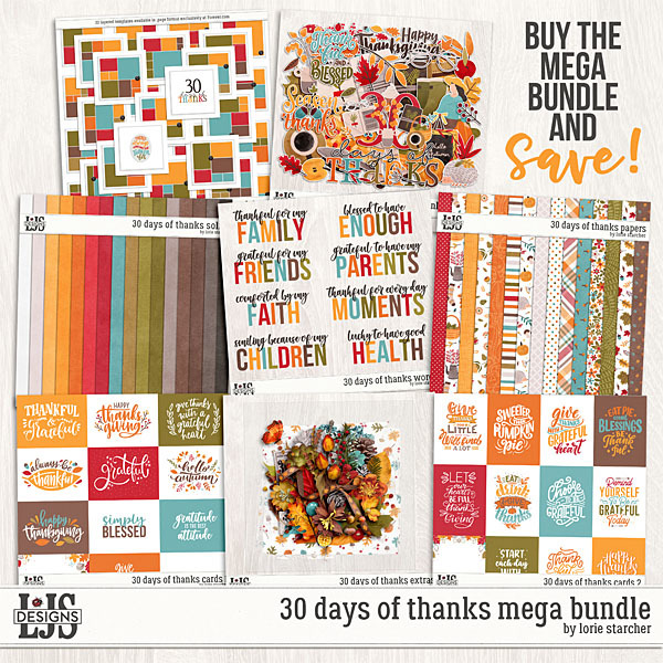 30 Days Of Thanks Mega Bundle Digital Art - Digital Scrapbooking Kits