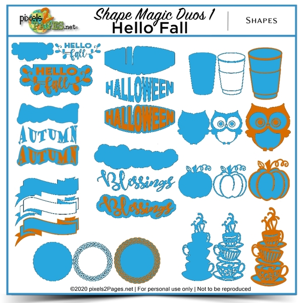 Shape Magic Duos 1 - Hello Fall Digital Art - Digital Scrapbooking Kits