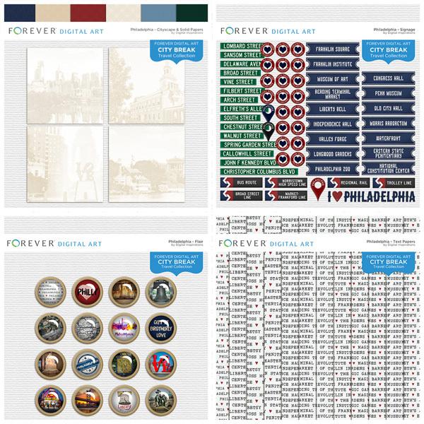 City Break - Philadelphia - BUNDLE Digital Art - Digital Scrapbooking Kits