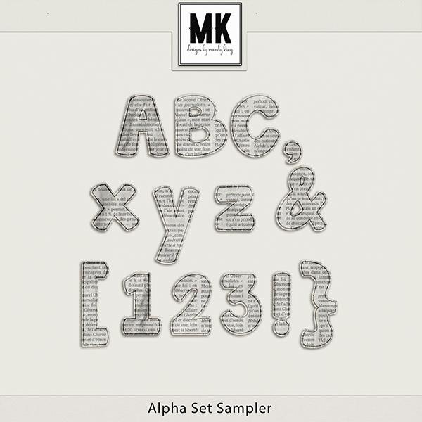 Alpha Set Sampler Digital Art - Digital Scrapbooking Kits