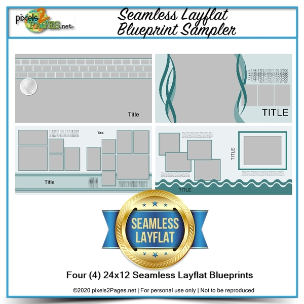 Seamless Layflat Blueprint Sampler Digital Art - Digital Scrapbooking Kits