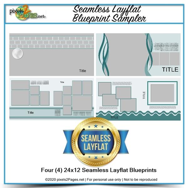 Seamless Layflat Blueprint Sampler Digital Art - Digital Scrapbooking Kits