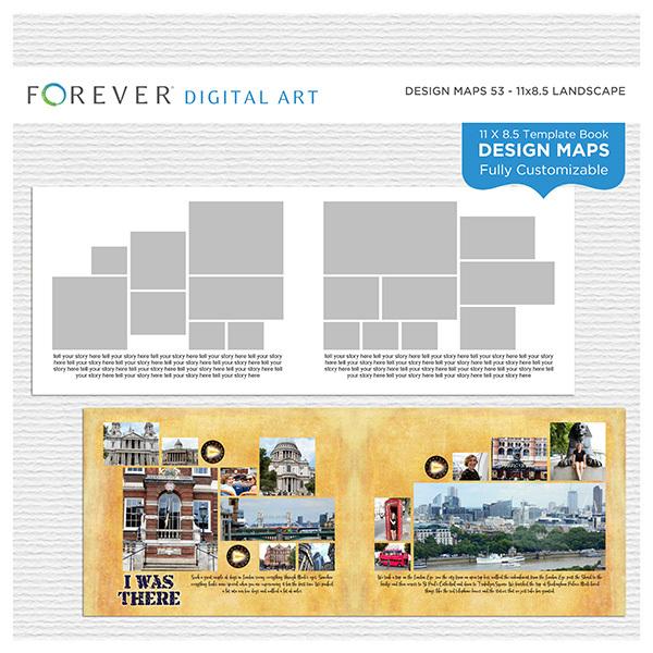 Forever Design Maps 53 - 11x8.5 Digital Art - Digital Scrapbooking Kits