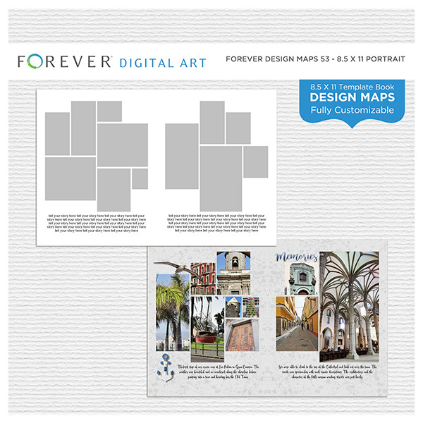 Forever Design Maps 53 - 8.5x11 Digital Art - Digital Scrapbooking Kits