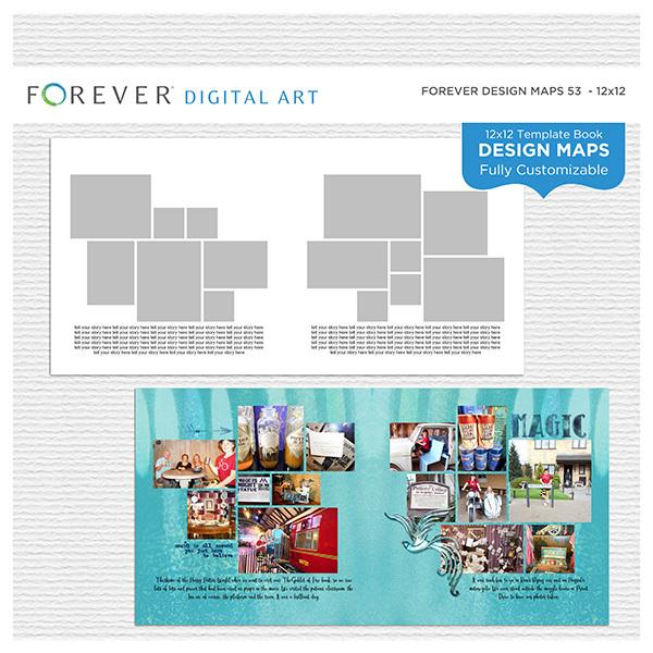 Forever Design Maps 53 - 12x12 Digital Art - Digital Scrapbooking Kits