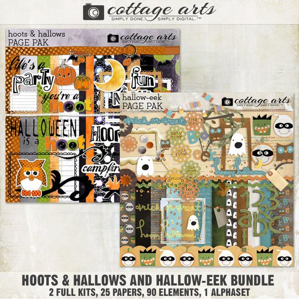 Hoots & Hallows and Hallow-eek Bundle Digital Art - Digital Scrapbooking Kits