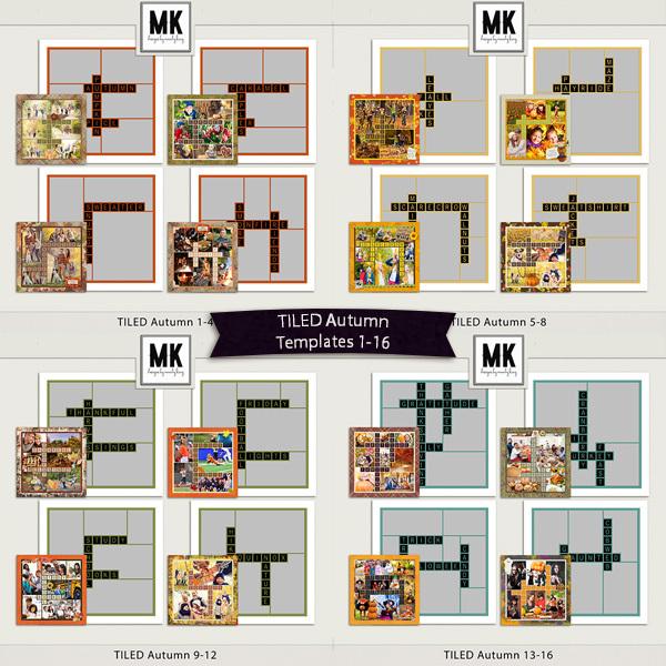 TILED Autumn 1-16 Digital Art - Digital Scrapbooking Kits