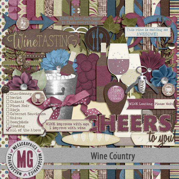 Wine Country Kit Digital Art - Digital Scrapbooking Kits
