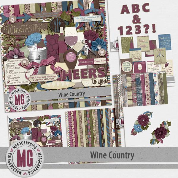 Wine Country Bundle Digital Art - Digital Scrapbooking Kits