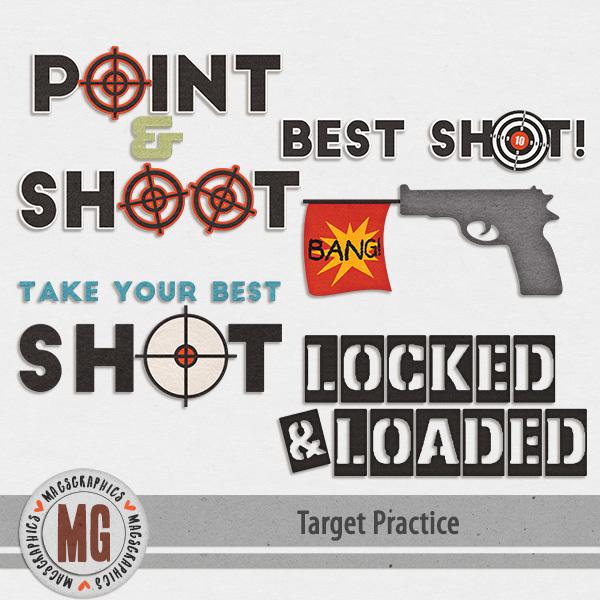Target Practice Word Art Digital Art - Digital Scrapbooking Kits