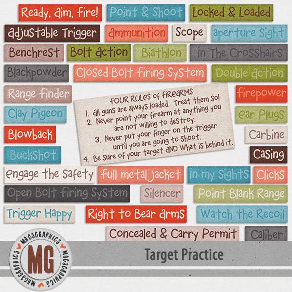 Target Practice Word Tags Digital Art - Digital Scrapbooking Kits