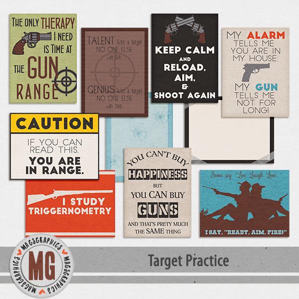 Target Practice Journal Cards Digital Art - Digital Scrapbooking Kits