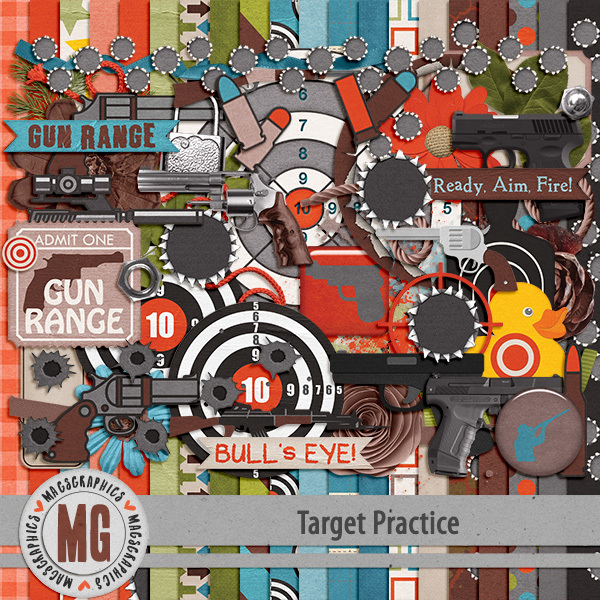 Target Practice Kit Digital Art - Digital Scrapbooking Kits