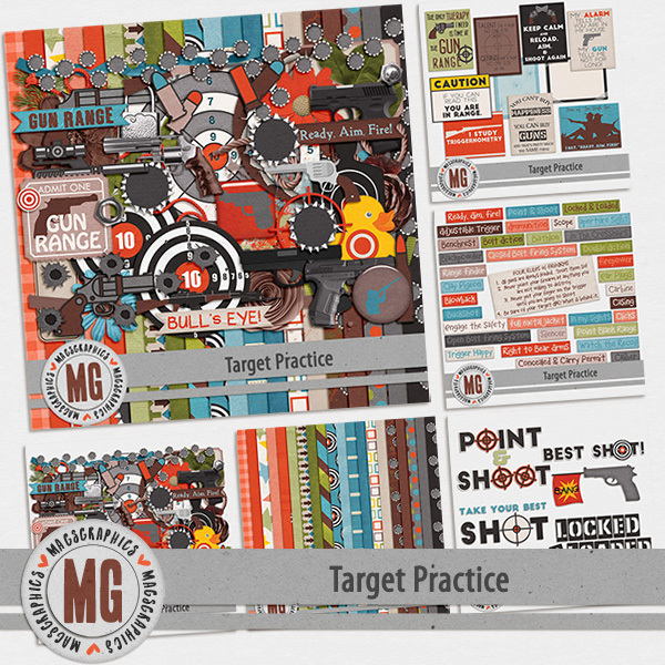 Target Practice Bundle Digital Art - Digital Scrapbooking Kits