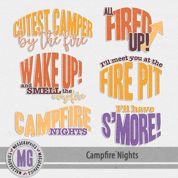 Campfire Nights Word Art Digital Art - Digital Scrapbooking Kits