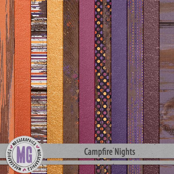 Campfire Nights Specialty Papers Digital Art - Digital Scrapbooking Kits