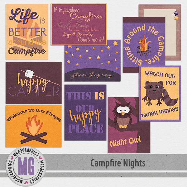 Campfire Nights Journal Cards Digital Art - Digital Scrapbooking Kits