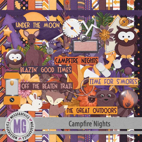 Campfire Nights Kit Digital Art - Digital Scrapbooking Kits