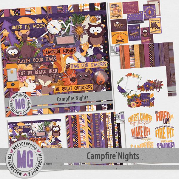 Campfire Nights Bundle Digital Art - Digital Scrapbooking Kits