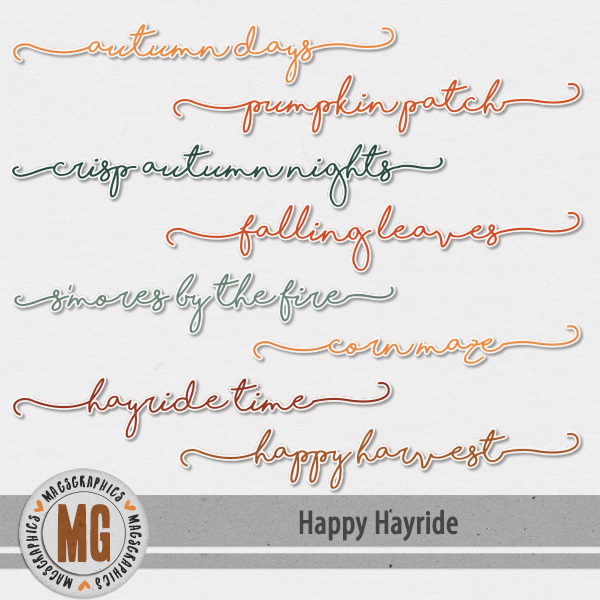 Happy Hayride Titles Digital Art - Digital Scrapbooking Kits