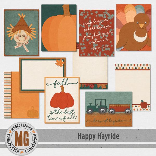 Happy Hayride Journal Cards Digital Art - Digital Scrapbooking Kits