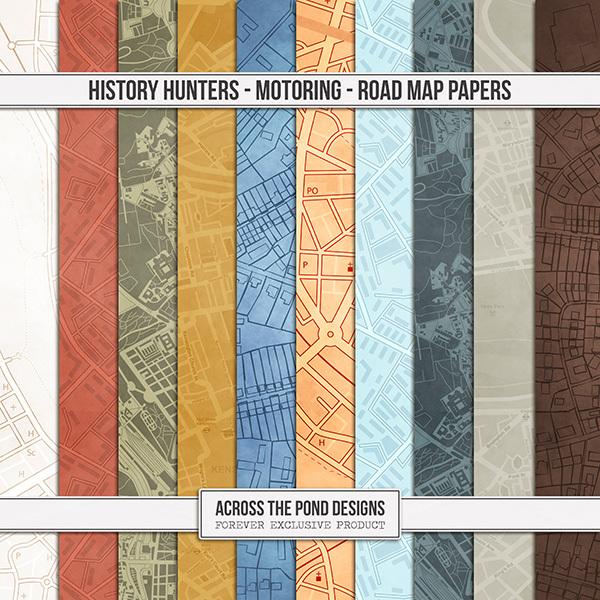 History Hunters - Motoring - Road Map Papers Digital Art - Digital Scrapbooking Kits